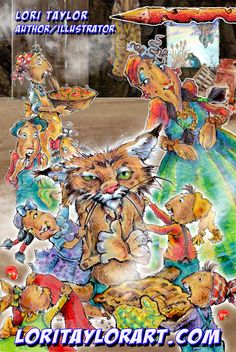 Crazy Cat Don't Chase That Rabbit by Lori Taylor Kids Lighting, Crazy Cats, Rabbit, Illustration, Painting, Fictional Characters, Art, Bunny, Art Background