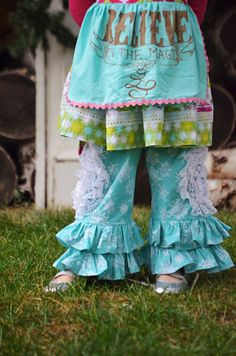 Girls Ruffle Pants in Teal Snowflake by ISADORAKIDS on Etsy, $38.00