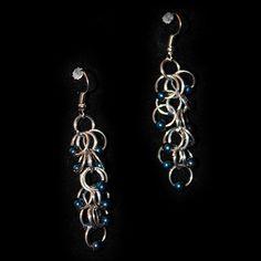 Free Ring Dark Metallic Blue Beaded Earring