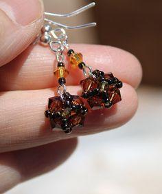 Swarovski Crystal Dangle Beadwork Earrings