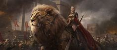 sean-shi artstation original fantasy art girl beautiful warrior lion shuo SHI