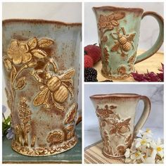 The #bee #garden mug is now available in blue, green or creamy oatmeal. A few of each color will be available in tonight's 7/28 7:00 PM EST Shop Restock. Each one is hand-built and formed from a slab of clay. #bees #stonewarepottery #handsandhustle...