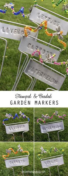 Garden Art with a purpose! These DIY Garden Markers would make a beautiful addition to your garden or a great gift for your favorite gardener!