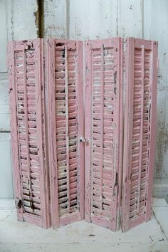 Wooden shutters set of 4 soft pink and white paint heavily distressed wall table home decor anita spero Distressed Shutters, Old Shutters, Wooden Shutters, Repurposed Shutters, House Shutters, Hanging Jewelry, Pink Houses, Distressed Painting, Cozy Cottage