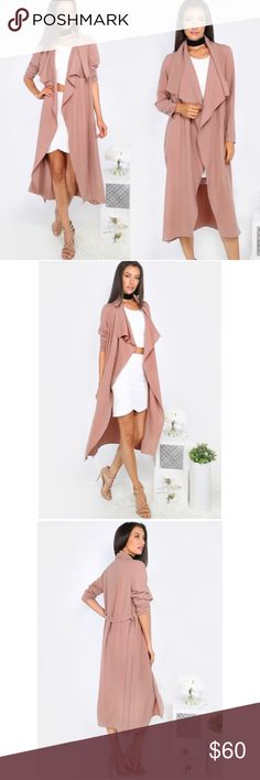 Blush Duster Coat Blush / dusty rose colored longsleeve duster. Unlined and thinner material. 100% Polyester. Runs fairly true to size; please ask for measurements prior to purchasing if unsure.  -- no trades -- -- firm price -- Lilacs & Lace Tops