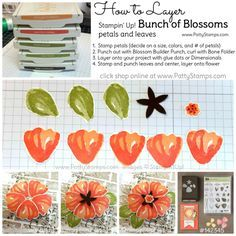 to layer Bunch of Blossoms stamped images and punch with the Blossom Builder punch. Tutorial by Patty Bennett Card Making Tips, Card Making Tutorials, Making Ideas, Stampin Up Karten, Stampin Up Cards, Cricut Cards, Flower Cards, Paper Flowers, Stampin Up Catalog