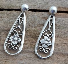 Delicate little small sterling silver filigree flower front and back ear jackets, tiny ball post studs, double sided earrings for women .925 *** Quickly view this special product, click the image : Handmade Gifts