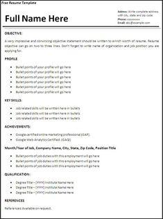 job resume templates word