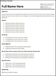 job resume templates word