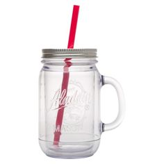Pinning this mostly for the benefit of @Lacey Melinder. also the straw is pink.  Aladdin Double-Walled Plastic Mason Jar