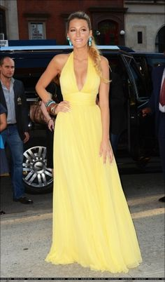 Beautiful soft yellow dress on Blake Lively