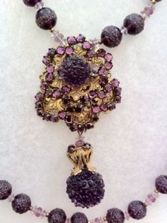 Miriam Haskell Purple Glass Necklace