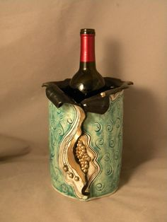 Need to chill your white wine in style? A real eye catcher and all you add is ice and wine! www.joycepottery.etsy.com