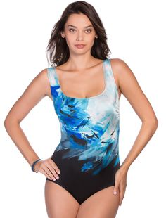 ccf43038e3 LONGITUDE SWIMWEAR ROSALINDA U BACK TANK ONE PIECE Blue Swimsuit