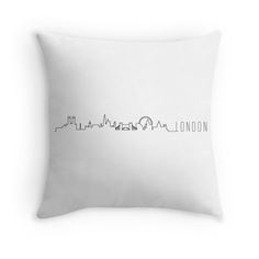 London Skyline design printed on throw pillow/cushion. Also available as Stickers, iPhone Cases, Samsung Galaxy Cases, Home Decors, Tote Bags, Pouches, Prints, Cards, iPad Cases, Laptop Skins, Laptop Sleeves, and Stationeries.