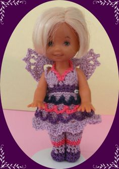 "Crochet Doll Clothes Purple Pony Outfit for 4 ½"" Kelly Same Sized Dolls"