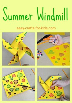 Craft Ideas For Kids Kids will have fun all summer long with these cute paper mills. Lots more great crafts to do in the summer weather!Kids will have fun all summer long with these cute paper mills. Lots more great crafts to do in the summer weather! Summer Arts And Crafts, Easy Arts And Crafts, Summer Crafts For Kids, Summer Kids, Crafts To Do, Preschool Summer Crafts, Summer Crafts For Preschoolers, Summer Daycare, Summer Art Projects