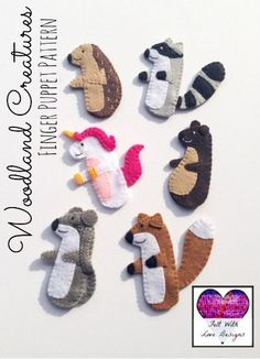 Woodland Creatures Finger Puppet Pattern (Hedgehog, Raccoon, Unicorn, Bear, Mouse, and Fox) {Felt With Love Designs}: