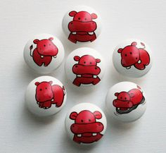 Red Hippo Drawer Pulls  Set of 4 by CariBimbi on Etsy