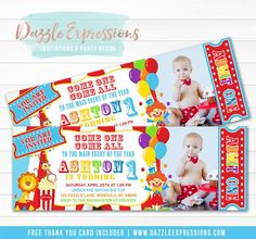 Printable Kids Circus Ticket Birthday Invitation 1 - Free Thank You Card Included – Dazzle Expressions