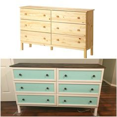 IKEA Tarva 6 drawer dresser hack. Done in 6 hours for $80. Valspar furniture paint, minwax polyurethane stain and seal in one (mission oak) paint shades: sherwin Williams bohemian lace and coastal Aqua.