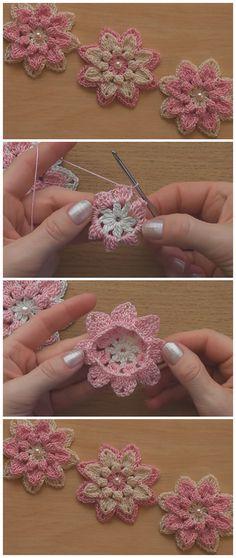 Very Easy Crochet Flower Tutorial – Learn to Crochet – Crochet Kingdom – crochet stitches Crochet Simple, Easy Crochet Stitches, Crochet Motifs, Crochet Doilies, Knitting Stitches, Crochet Flower Tutorial, Crochet Flower Patterns, Crochet Flowers, Knitting Patterns