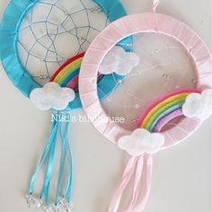 Items similar to Rainbow Dreamcatcher with clouds - room decor for children on Etsy Sewing Projects For Kids, Sewing For Kids, Diy Crafts For Kids, Kids Crafts, Craft Projects, Arts And Crafts, Birthday Presents For Girls, Unicorn Bedroom, Rainbow Room