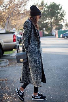 Greytones Leopard print coat and New Balance's