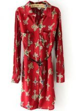 Red Cross Print Drawstring Pockets Pleated Chiffon Dress $31.61 #SheInside. I would shorten this dress and wear it with jeans.