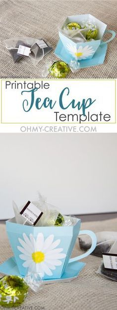 Free Printable Tea Cup Template. OHMY-CREATIVE.COM. 3D Paper Tea Cup and saucer.
