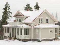 Aurora Nurmijärvellä Exterior Paint Colors For House, House Colors, Farmhouse Addition, Terrace Design, Victorian Homes, Old Houses, My Dream Home, My House, House Plans