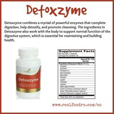 Detoxzyme combines a myriad of powerful enzymes that complete digestion, help detoxify, and promote cleansing. The ingredients in #Detoxzyme also work with the body to support normal function of the digestive system, which is essential for maintaining and building health.