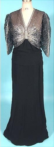 c. 1935 Black Crepe Gown with Rhinestone and Beaded Bodice in Butterfly Design