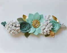 Felt Flower Crown // mint spruce and gold by BakerBlossoms on Etsy