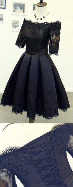 Short Prom Dresses, Black Prom Dresses, Lace Prom Dresses, Black Lace Prom dresses, Prom Dresses Short, Short Homecoming Dresses, Prom Short Dresses, Custom Prom Dresses, Lace Homecoming Dresses, Homecoming Dresses Black, Black Lace dresses, A Line dresses, Black Homecoming Dresses, Lace Up Homecoming Dresses, Pleated Homecoming Dresses, A-line/Princess Prom Dresses, Sleeves Party Dresses