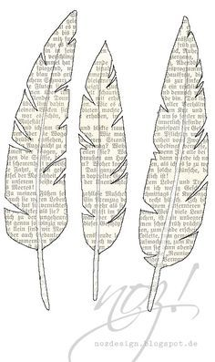 If you don´t want to cut old books, but love the charm of them, then take the feathers to print.
