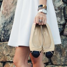 little white dress, chanel flats, michele watch, hermes bracelet http://www.lcbstyle.com/home/2015/8/11/designs-by-lcb-vol-3