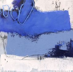 ARTFINDER: Work No. 2015.10 by Daniela Schweinsberg - Painting in white & blue, fresh like the sea! Mixed media, drawings. Surface nearly without structure (look at the details). Signed on the front. The s...