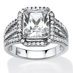 4.38 TCW Emerald-Cut Cubic Zirconia Halo Ring in Platinum Over .925 Sterling Silver - http://www.loveuniquerings.com/4-carat-diamond-ring/4-38-tcw-emerald-cut-cubic-zirconia-halo-ring-in-platinum-over-925-sterling-silver/