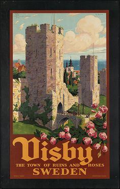 Mixed Media - Visby, Gotland, Sweden - Town Of Ruins And Roses - Retro Travel Poster - Vintage Poster by Studio Grafiikka , Sweeden Travel, Voyage Suede, Vintage Travel Wedding, Retro Poster, Poster Vintage, Vintage Artwork, Kunst Poster, Tourism Poster, Boston Public Library