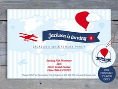 Airplane birthday party printable invitation time flies by i heart airplane birthday invitation 1st birthday party 6x4 printable file free favor tags filmwisefo