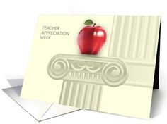 Happy Teacher Week. Red Apple and Education Pillar design  Business   Corporate Greeting Cards with personalized greeting. at greetingcarduniverse.com