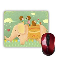 "ECO-Pad Cute Cartoon Characters and Elephants Personalized Customized Rectangle Non-Skip Rubber Mouse Pad 9"" x 7"" Ecopad"