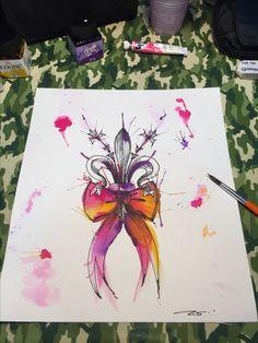 Giglio di Firenze infiocchettato in watercolor! Tavola per tatuaggio. Tattoo Artist: Mari Fina www.subliminaltattoo.it #watercolorribbon #schetch #watercolorfloranceflower #subliminaltattoofamily