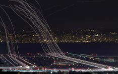 Long exposure photo of planes at SFO