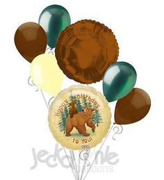 7 pc Brother Bear Happy Birthday Balloon Bouquet Party Decoration Movie Forest
