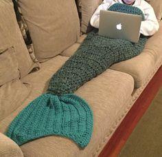 Mermaid tail blanket, Mermaid Cocoon, Mermaid afghan by KnittinMamaG on Etsy https://www.etsy.com/listing/258289185/mermaid-tail-blanket-mermaid-cocoon
