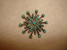 "Vintage Sterling Silver TURQUOISE Petit Point SNOWFLAKE Pin Native American Zuni Indian ~ 1-3/8"" ~ Needs Pin by PastPossessionsOnly on Etsy"