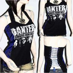 Pantera Metal Punk Rock DIY Sequin Halter SnakeSkin Corset Top