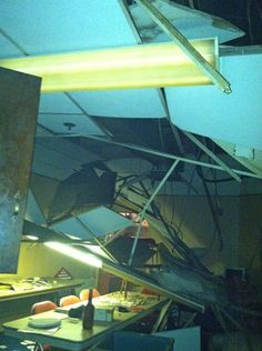 A collapsed ceiling